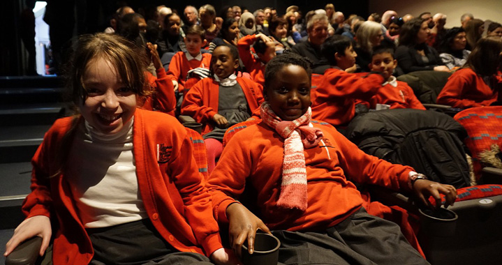 Children at the London Transport Museum waiting to present their oral history project to an audience for the first time.