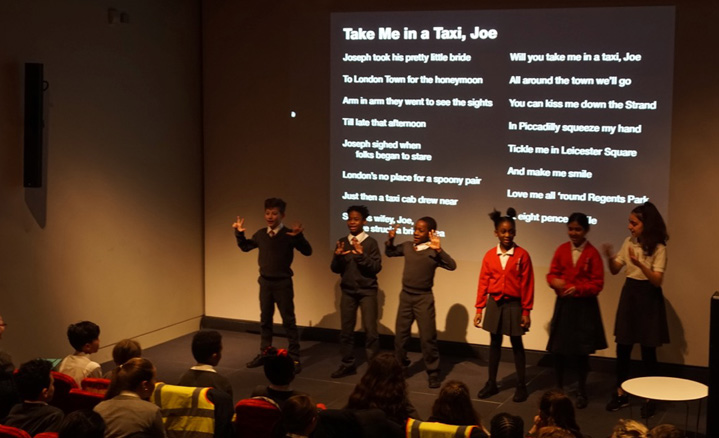 Singing Take me in a Taxi Joe at the London Transport Museum