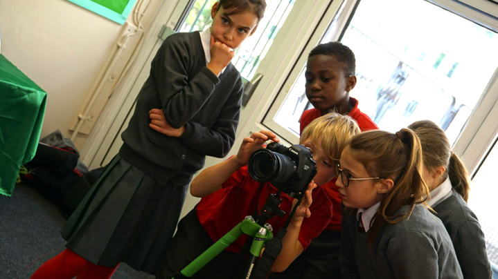 Children from Westminster Cathedral School learn film making skills from digital-works.